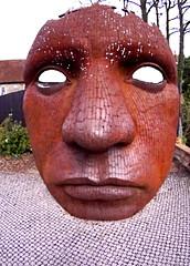 Giant Mask Sculpture outside The New Marlowe Theatre, Canterbury.. (wontolla1) Tags: new sculpture lens lumix kent memorial mask theatre britain battle canterbury fisheye panasonic le deal marlowe f8 dover 9mm tenterden capel airmen ferne chilham bodycap gx1