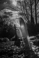 Remember me when I am gone... (+Pattycake+) Tags: bw sun graveyard clouds mono evening efs1855mm lensflare gravestone caononeos70d