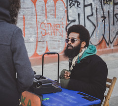 Street Poet (Will OHare) Tags: street nyc people poetry streetphotography williamsburg bedfordavenue lynngentry fujixe2