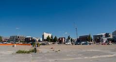 Once Stood Buildings (Jocey K) Tags: road city trees newzealand christchurch sky architecture buildings crane cbd porthills