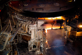 "The ""Big Melt"" as 110 tons of scrap metal are tipped in to the furnace"