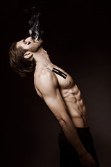 (Marija Zindovic) Tags: boy portrait black male muscles look fashion dark studio naked beard skin body expression cigarette smoke bold