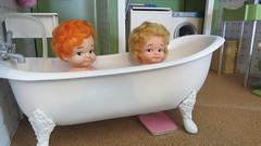 (2) In the Bath (Foxy Belle) Tags: boy baby scale cat vintage bathroom foot bath doll market claw tiny tub 16 flea peewee diorama playscale