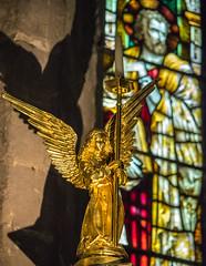 Angels and Saints (Maria-H) Tags: uk england angel unitedkingdom stainedglass panasonic northumberland gb bamburgh gh4 35100 staidenschurch dmcgh4