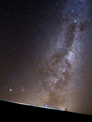 The Passerby of Time (blue polaris) Tags: park new light red sky night way stars landscape island volcano scenery long exposure crossing north zealand alpine national crater hiker tongariro milky stardust tramper
