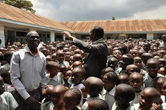 Dagoretti MP Dennis Waweru addressing the students