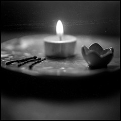 (mkberquist) Tags: light blackandwhite bw stilllife mediumformat candle minolta 120film flame burnt diafine match dust matches closeupfilter autocord dustspots minoltaautocord ultrafinextreme400