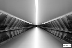 Warp (Adam Campbell-Price) Tags: england bw white black london blackwhite place unitedkingdom tunnel architectural wharf gb canary canarywharf onecanadasquare crossrail crossrailplace