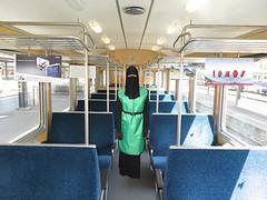 Niqab Girl in Train (Buses,Trains and Fetish) Tags: girl train hijab rail apron niqab burka chador