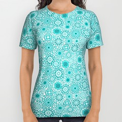 ceramic-flowers-atoll-all-over-print-shirts (vannina_sf) Tags: blue summer woman flower floral fashion shirt ceramic pattern turquoise tshirt tee atoll alloverprint society6