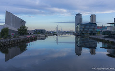 Manchester Ship Canal, Salford Quays. 23rd June 2016. (craigdouglassimpson) Tags: england sky water buildings reflections dawn bridges salfordquays lancashire imperialwarmuseum manchestershipcanal mediacity