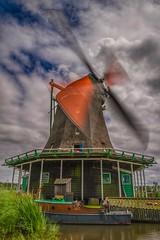 Windmill (opshorton) Tags: longexposure holland windmill amsterdam clouds canon boat canal tripod sails bluesky 7d zaanseschans canon7d