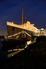 RMS Queen Mary at twilight