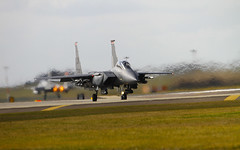 As One Takes Off The Next Rolls onto The Runway (cjf3) Tags: haze usaf takeoff eagles f15 afterburner lakenheath fastjets