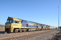 NR46 & NR43 (rob3802) Tags: train diesel rail railway loco locomotive railyard southaustralia whyalla diesellocomotive pacificnational portaugusta dieselelectriclocomotive nrclass nr43 nr46