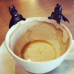 8/3.2015 - what happened to the flat white? (julochka) Tags: coffee square starbucks squareformat batman amaro legominifigures iphoneography legography instagramapp uploaded:by=instagram