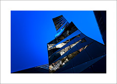 BLUE (Mr sAg) Tags: barcelona blue holiday abstract colour reflection building glass up architecture mirror saturated spain geometry perspective angles gas catalunya shards fenosa mrsag gasnaturalfenosa ottonthepp ©simonharrison2015