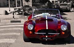 AC Cobra (Nadeenactyl) Tags: red blackandwhite bw classic cars car photography nikon classiccar cobra maroon stripes shelby mustang splash ac carshow spotlights accobra nikond90