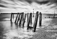 Old-Jetty (petefoto) Tags: clouds pebbles felixstowe timbers riverorwell oldjetty groynes landguardpoint bwnd110 nikond810 lee09sgrad