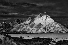 Waning Moon Over the Tetons-II (BarneyK) Tags: moon sunrise ir unitedstates moose wyoming grandteton jacksonhole snakeriveroverlook tetonnationalpark 830nm bridgernationalforest d800ir