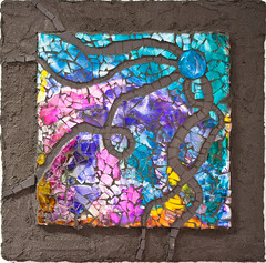 Kline, Nancy. Entangled (Del Ray Artisans) Tags: tile artwork 2015 dra colorpink temperedglass alcoholink delrayartisans nancykline