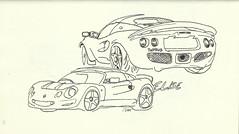 Paris_XVe-ParcAndréCitroen-Lotus-Elise (velt.mathieu) Tags: auto car sketch lotus elise croquis