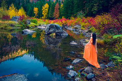 The Four Seasons - Autumn (jajasgarden) Tags: seattle park travel autumn trees light portrait sky orange woman mountain reflection tree art fall nature water girl beautiful beauty leaves fashion landscape model colorful natural outdoor fine creative adventure national photograph