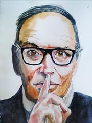 Ennio Morricone (Utopist) Tags: watercolour watercolor portrait ennio morricone men pp