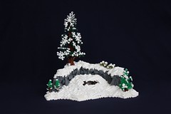 Winter Survival (soccersnyderi) Tags: winter summer snow tree ice beauty pine landscape model lego natural snowdrift creation joust goh guilds moc historica wintry rockwork of mitgardian