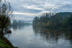 Early Morning Mist (fotomemi) Tags: morning blue mist misty digital river boat nikon scenery ngc dordogne d200 nikkor barge dore twop aquitaine nikond200 larocquegaceac