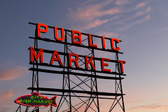 Seattle's Pike Place Market (StephsShoes) Tags: seattle market pikeplace farmersmarket sign neon sunset washington wa pacificnorthwest pnw
