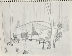 Campsite on the Farm in Georgia (Riversong Artist) Tags: trip camping camp pencil paper georgia sketch moms 1970s bainbridge bkhagar