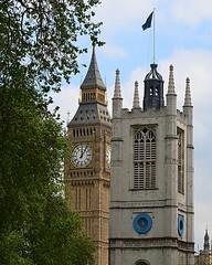 Big Ben and St. Margaret's (pjpink) Tags: uk england london tower church westminsterabbey architecture spring britain may bigben clocktower stmargarets 2016 pjpink