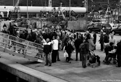 Scotland West Highlands Kintyre Campbeltown people getting on and off the paddle steamer Waverley 3 July 2016 by Anne MacKay (Anne MacKay images of interest & wonder) Tags: scotland west highlands campbeltown pier dock people passengers boarding paddle steamer waverley monochrome blackandwhite xs1 3 july 2016 picture by anne mackay kintyre