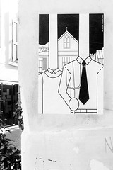 Abducted (lorenzoviolone) Tags: agfascala200 bw blackwhite blackandwhite finepix fujix100s fujifilm fujifilmx100s minimalgothic monochrome mrminimal sticker streetart vsco vscofilm x100s mirrorless stickerart streetphoto streetphotobw streetphotography walk:rome=july202016 wall roma lazio italy
