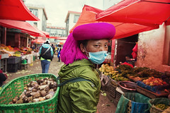 Mushroom gatherer~ Shangrila (~mimo~) Tags: china portrait woman mountain color mushroom photography colorful asia basket tibet shangrila tibetan turban yunnan minority headress mimokhairphotography