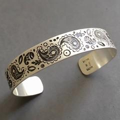 Stamped Paisley Cuff bracelet.