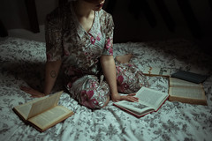 Sunday in the cottage (FlaviaCatena) Tags: light england colour floral girl vintage bed bedroom soft dress cottage indoor books cropped redhair embroided vintagebook vintagedress