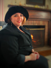 Dawn- Fireplace (Photo Squirrel) Tags: wife woman hat fire fireplace study blur focus smile holiday thanksgiving