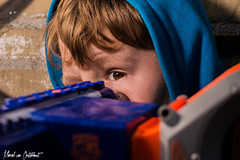 Nerf war (M van Oosterhout) Tags: boy people playing man holland eye boys netherlands face toy war play nerf
