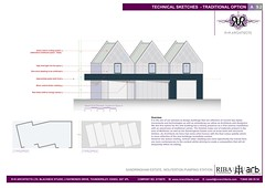 Commercial sketch proposal with decorative brickwork.