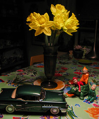 Joy Ride (prima seadiva) Tags: stilllife green 1955 car table buick daffodils stpatricksday elves
