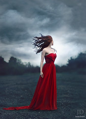 Regrets Only ({jessica drossin}) Tags: red portrait sky woman mist storm texture clouds hair alone dress cross wind vivid blowing overlay redhead lonely redhair solitary processed regret actions foundations tints jessicadrossin wwwjessicadrossincom jdbeautifulworldcollection