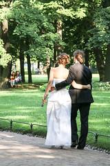 Newlymarried couple walking in the park, Saint Petersburg, Russia (inchiki tour) Tags: park travel wedding people walking photo europe married russia lovers saintpetersburg  leningrad 2014 cupple