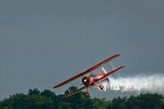 Big Red Fly Bye (lancelemke@sbcglobal.net) Tags: red plane flying smoke flight bigred spearman propplane