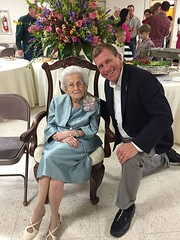 Congratulating Ms. Becky Post on her 100 birthday @First Baptist Church in Farmerville.