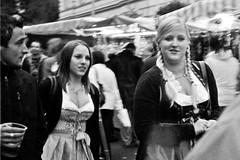 Gösser Kirtag (bwaddict) Tags: street blackandwhite bw film analog 35mm austria candid traditional 1600 push grainy pushed fest austrian dirndl jupiter8 kiev4a tracht ilfordp4surveillance gösserkirtag