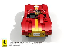 Ferrari 500 TRC Spider (Scaglietti - 1957) (lego911) Tags: auto italy classic sports car spider model italian lego render under over ferrari 1950s million 1957 500 challenge lemans thousand tr cad sportscar racer 89 barchetta povray moc scaglietti trc ldd miniland 0670 lego911 0670mdtr overamillionunderathousand