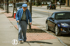 Taking a Walk (JohnBorsaPhoto) Tags: street new york old blue ny newyork man cute male guy smile car cane john walking photography glasses spring buffalo day pants walk north grandfather adorable grandpa kind sidewalk jacket walker cap elderly ave daytime avenue borsa gentle hertel hertelavenue hertelave