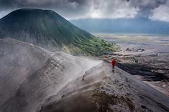 Crater Rim Walk (Java, Indonesia) (mindugo) Tags: mountain clouds indonesia volcano java crater bromo batok seaofsand activevolcano eastjava bromotenggersemeru mountbatok potenhindutemple